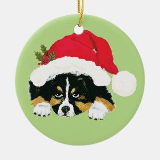Black Tri Aussie Christmas Puppy Ceramic Ornament