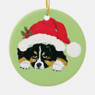 Black Tri Aussie Christmas Puppy Double-Sided Ceramic Round Christmas Ornament