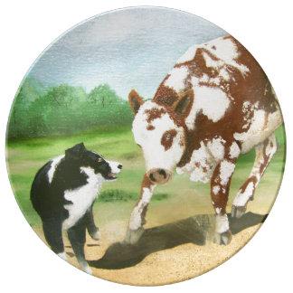 Black Tri Aussie Cowdog w/Spotted Cow Plate