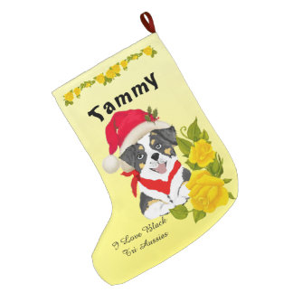 Black Tri Aussie Puppy and Yellow Roses Large Christmas Stocking
