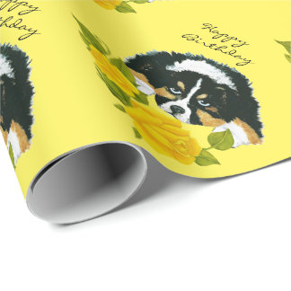 Black Tri Aussie Puppy & Yel. Roses Wrapping Paper