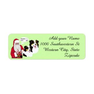 Black Tri Aussies w/ Santa Claus Naughty or Nice Label
