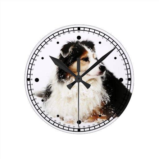 Black Tri Australian Shepherd Dog in Snow Round Clock