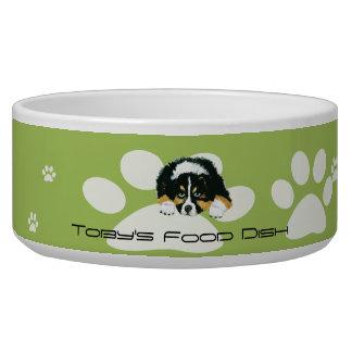 Black Tri Australian Shepherd Food Dish