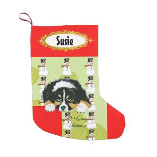 Black Tri Puppy w/Snowman Stocking