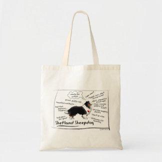 Black tri sheltie tote bag