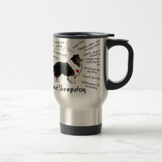 Black tri sheltie travel mug