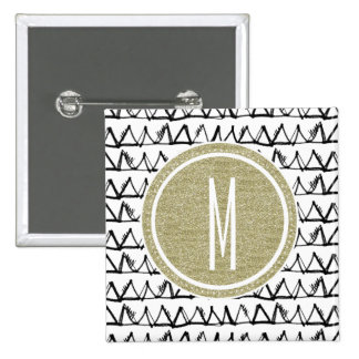Black Triangles Gold Glitter Monogram Pinback Button