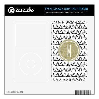 Black Triangles Gold Glitter Monogram iPod Skin