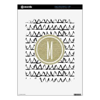 Black Triangles Gold Glitter Monogram Skin For The iPad 2