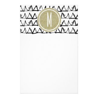 Black Triangles Gold Glitter Monogram Stationery