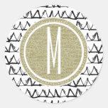 Black Triangles Gold Glitter Monogram Round Sticker