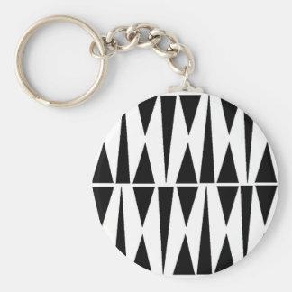 Black Triangles White Butterflies Keychain