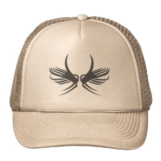 Black Tribal Abstract Bird Trucker Hat
