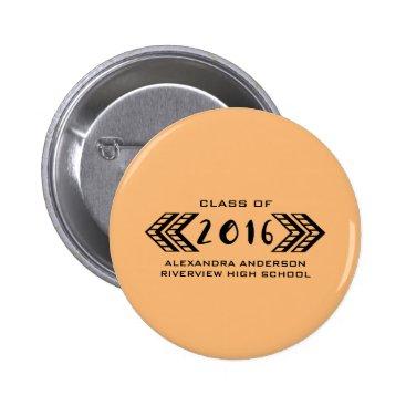 Aztec Themed Black Tribal Aztec Graduation Button