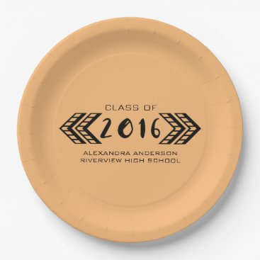 Aztec Themed Black Tribal Aztec Graduation Paper Plates
