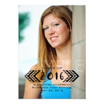 Aztec Themed Black Tribal Aztec Photo Graduation Announcement