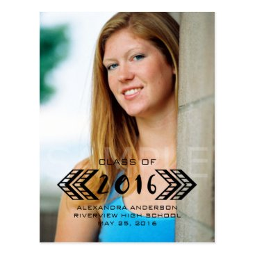 Aztec Themed Black Tribal Aztec Photo Graduation Postcard