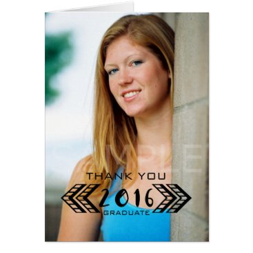Aztec Themed Black Tribal Aztec Photo Graduation Thank You Card