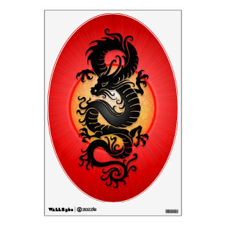 Black Tribal Chinese Dragon, red background Wall Decal