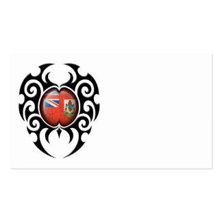 Black Tribal Cracked Bermuda Flag Business Cards