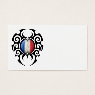 Black Tribal Cracked French Flag Business Card