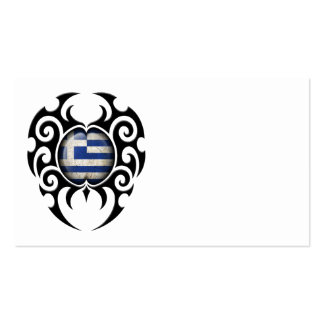 Black Tribal Cracked Greek Flag Business Card