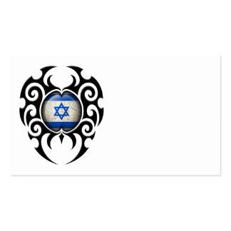 Black Tribal Cracked Israeli Flag Business Card