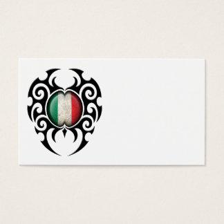 Black Tribal Cracked Italian Flag Business Card