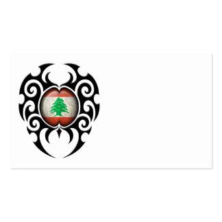 Black Tribal Cracked Lebanese Flag Business Card