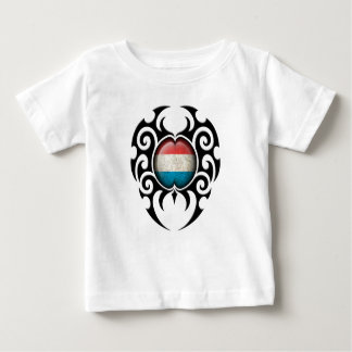 Black Tribal Cracked Luxembourg Flag Baby T-Shirt