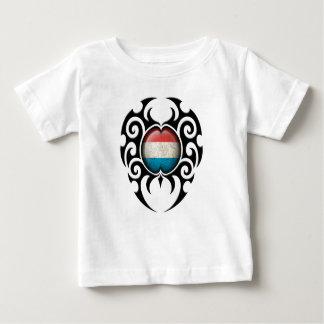Black Tribal Cracked Luxembourg Flag Tee Shirt