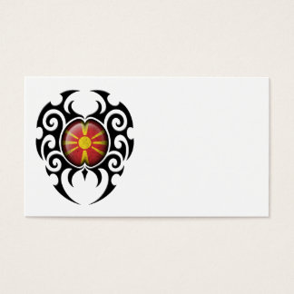 Black Tribal Cracked Macedonian Flag Business Card
