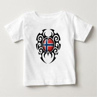Black Tribal Cracked Norwegian Flag Infant T-shirt