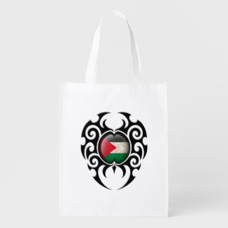 Black Tribal Cracked Palestinian Flag Reusable Grocery Bag