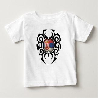 Black Tribal Cracked Serbian Flag Shirt