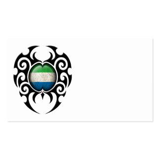 Black Tribal Cracked Sierra Leone Flag Business Card Template