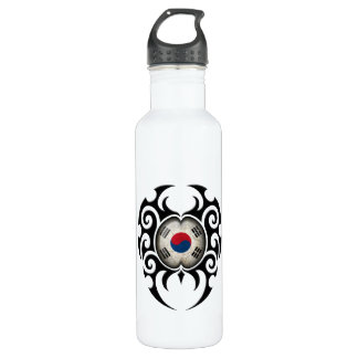 Black Tribal Cracked South Korean Flag Stainless Steel Water Bottle