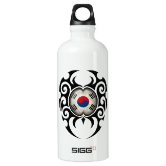 Black Tribal Cracked South Korean Flag Water Bottle