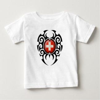 Black Tribal Cracked Swiss Flag T Shirts