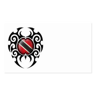 Black Tribal Cracked Trinidad and Tobago Flag Business Card