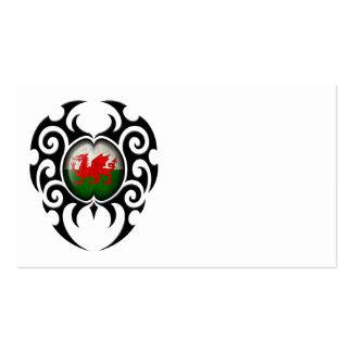 Black Tribal Cracked Welsh Flag Business Card Templates