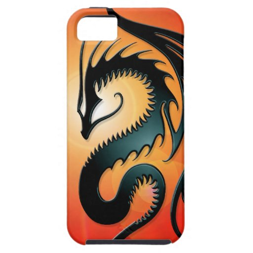 Black Tribal Dragon, red iPhone 5 Case