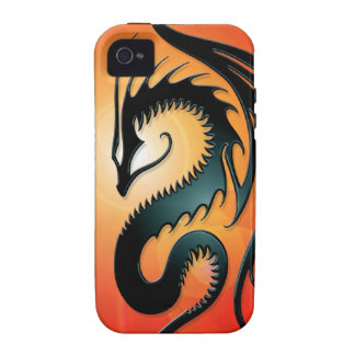 Black Tribal Dragon, red iPhone 4/4S Case