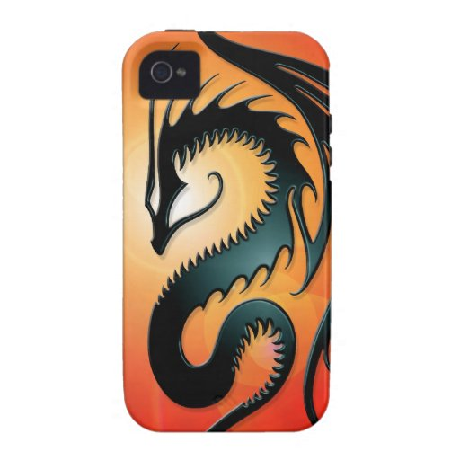 Black Tribal Dragon, red iPhone 4/4S Cases