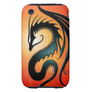 Black Tribal Dragon, red iPhone 3 Tough Cover