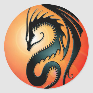 Black Tribal Dragon, red Classic Round Sticker