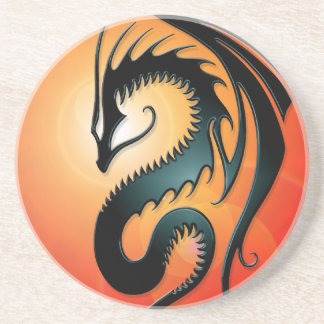 Black Tribal Dragon, red Drink Coaster
