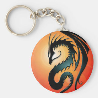 Black Tribal Dragon, red Keychain