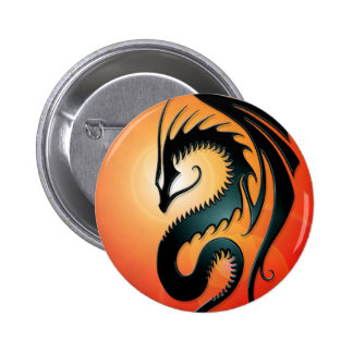Black Tribal Dragon, red Pinback Button